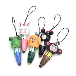 $enCountryForm.capitalKeyWord Canada - Wooden Cute Cartoon Animals Short Pens Mobile Phone Pendant Wood Ballpoint Pen 50 Piece