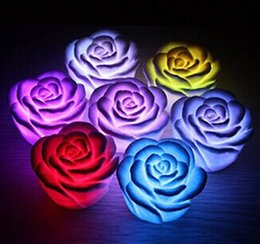 Flameless candles rose online shopping - Changeable Color LED Rose Flower Candle lights smokeless flameless roses love lamp ZJ0087