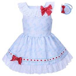 Arcos De Los Niños Baratos-Pettigirl 2018 Summer Girls Blue Dress With Red Bows and Headwear Lace Collar Boutique Niños Ropa de moda G-DMGD001-1291