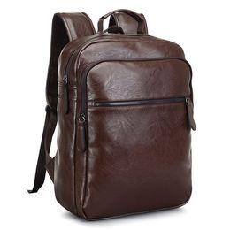 Chinese  2017 Men Leather Backpack High Quality Youth Travel Rucksack School Book Bag Male Laptop Business bagpack mochila Shoulder Bag manufacturers