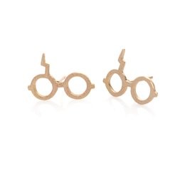 magic gifts Australia - Wholesale Funny Harry Magic Glasses Stud Earring Jewellery Silver Gold Pink Gold Plated Color For Women Gift EFE036