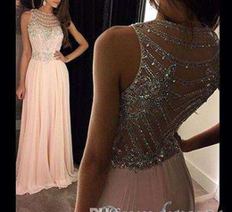Barato Brilho Chiffon Prom-2017 A Line Chiffon Prom Dresses Glittering Cristal Bead Sequins Sheer Back Andar Comprimento Evening Gowns Formal Girls 'Pageant Dress Plus Size