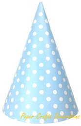 Chapeau De Fête Cône Pas Cher-Vente en gros-12pcs / lot 20cm * 13.3cm Blue Polka Dots Party Papier Cone Hats Caps Anniversaire enfants Party Event Supplies