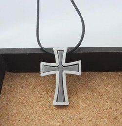 $enCountryForm.capitalKeyWord Australia - Religious Christian Cross Necklace For Men Jewelry Stainless Steel Unique Double Design Silver Cross Pendant New Trendy