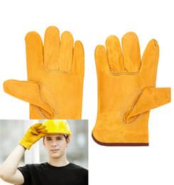 Guanti protettivi da lavoro Saldatura di sicurezza Pelle Glovess Colore giallo Taglia L Proteggere le mani dell'operaio Cantiere esterno52 in Offerta