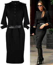 Robes À Genoux Longueur Au Genou Femmes Pas Cher-Printemps Automne Nouvelle mode Femmes Sexy Knee-Length Bodycon Robes Celebrity Victoria Beckham Military Uniform Dress