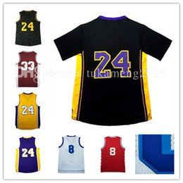 Barato Bordado Para Miúdos Camiseta-24 8 Kobe Bryant Basketball Jersey Men's Black T-shirt Adulto Mesh Throwback 33 Bryant KB Jerseys Jovens Kids aposentados Embroidery atacado