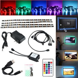Discount tape usb - USB RGB LED Light Strip SMD5050 Adhesive Tape Waterproof Led Backlight Tv Decoration 4*50CM Light With 24Key