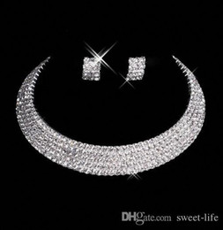 Stone made necklace online shopping - 15035 Designer Sexy Men Made Diamond Earrings Necklace Party Prom Formal Wedding Jewelry Set Bridal Accessories In Stock