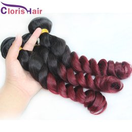 best ombre hair weave 2020 - Best Quality Ombre Raw Indian Hair Loose Curly Wave Human Hair Weave Bundles Cheap 1b 99j Burgundy Two Tone Ombre Hair E