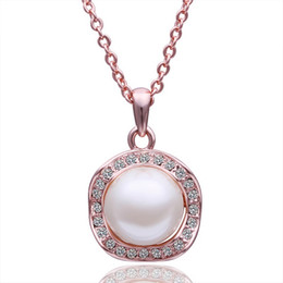 Best Wedding Pendant Australia - Best gift Rose Gold white crystal jewelry Necklace for women DGN503,pearl 18K gold gem Pendant Necklaces with chains