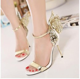 Yellow Gold High Heels NZ - 2017 Summer Sophia Vampire Diaries fantasy butterfly wing high heel sandals gold silver wedding shoes size 35 to 40