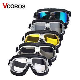 $enCountryForm.capitalKeyWord Canada - Harley Style Motorcycle helmet Goggles Pilot Motorbike helmet Goggles Leather Retro Jet Helmet Eyewear