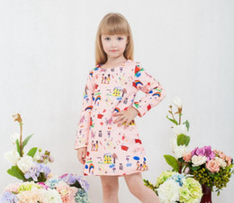 lemon print dresses Canada - 2017 Girls Print Design Princess Dress Long Sleeve Spring Autumn dress Costume for Kids Clothes Tunic Appliques Girls Jersey Dresses