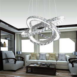 China Modern LED Crystal Chandelier led Ring Diamond K9 Pendant lamps lighting For Beach House Bedroom Dining Room AC110-240V LED SMD Crystal Ce supplier silver light crystal chandelier suppliers