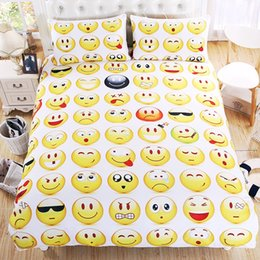 Queen Bedspread Set Canada - Wholesale Emoji Bedding Set Interesting Fashion Duvet Cover for Young Printed Bedlinen 3Pcs Twin Full Queen King Bedspreads Pillowcases
