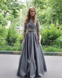 Chinese  2017 New High Neck Grey Two Pieces A Line Evening Dresses Elegant Half Long Sleeves Floor Length Formal Prom Party Gowns manufacturers