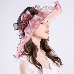 $enCountryForm.capitalKeyWord Canada - Retail Elegant pink Fine gauze large brim hat party church wedding hats Fashion hat Sun Hats 6 colors