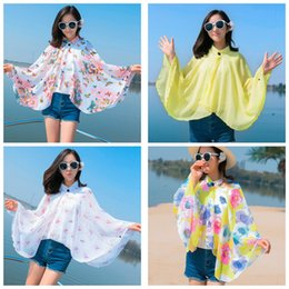 Camisa Del Abrigo De Las Muchachas Baratos-Verano MujeresGirls Sweet Chiffon Shirt Bufandas Sunscreen Shawl Print anti-ultravioleta Driving Cycling Cloak Toallas de playa Wrap Beachwear
