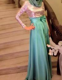 $enCountryForm.capitalKeyWord NZ - Bling Bling Abaya Kaftan Sequins Long Sleeve Chiffon Hijab Muslim Evening Dress Vestidos De Festa Bow Evening Dresses Green