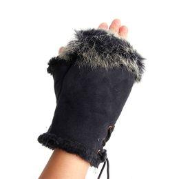 $enCountryForm.capitalKeyWord UK - Wholesale- 1pair Cute Women's Warm Winter Rabbit Fur Leather Fingerless Comfortable Gloves