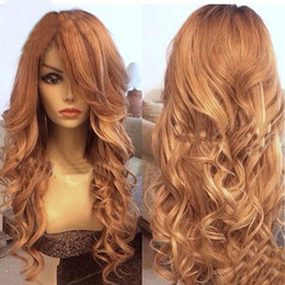 $enCountryForm.capitalKeyWord Canada - Honey Blonde Full Lace Wig Human Hair Loose Wave Virgin Brazilian Wavy Lace Front Human Hair Wig With Bangs & Baby Hair Color #27