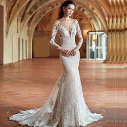 Discount Long Sleeve Fit Flare Wedding Dress 2017 Long Sleeve