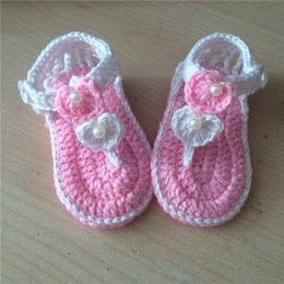 Wholesale Summer Baby hand woven sandals Baby White Plum crochet toddler shoes Newborn Cotton yarn shoes