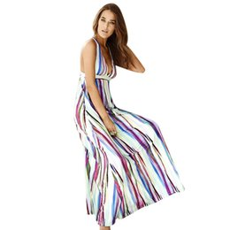 Barato Elástico Do Vestido Da Praia-Sexy Backless Women Dress Mulher Cor Stripe Elastic Waist Halter Praia Long Dress Maxi Vestidos Long Vestidos