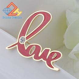 $enCountryForm.capitalKeyWord Canada - Fashion Women Jewelry Pink Enamel Brooch Gold-color Letter LOVE Carriage Hijab Shawl Scarf Scarves Buckle Clips