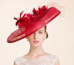 British wedding hats online shopping - High Quality Big Red British Women  Sinamay Yarn Small Hat bcc6ec68d63