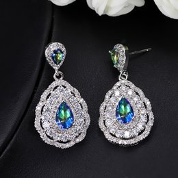 $enCountryForm.capitalKeyWord NZ - NEW style High quality competitive price brilliant mystic color CZ diamond luxury pear drop bridal wedding party earrings