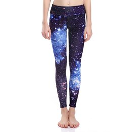 Barato Leggings Galaxy Hot-Atacado- 2017 Hot Sales LOVE SPARK Blue Sky Print Bodybuilding Leggings High Elastic Galaxy Space Sports Calças Running Jogging Trousers