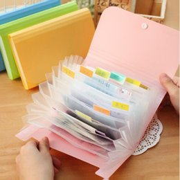 Discount expanding folders - Plastic Candy Color A6 File Folder Small Document Bags Expanding Wallet Bill Folders for Documents Fichario Escolar