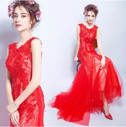 Barato Vestidos De Noite Vermelhos Bordados-2017 New Red Sweetheart Lace Jewel A-Line Andar de comprimento Zipper Voltar Bordado Sexy Evening Dress Mermaid Gorgeous Runway Dress