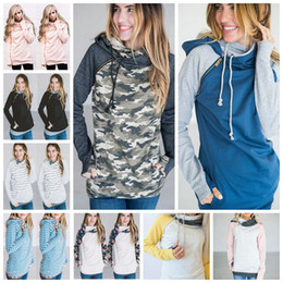 Barato Vestuário De Inverno Feminino-Mulheres Finger Hoodie Digital Print Coats Zipper Lace Up manga comprida Pullover Winter Blusas Outdoor Sweatshirts Outwear 9 Styles 50pc OOA3396