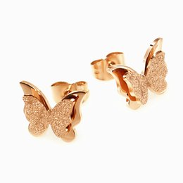Butterfly White Rose Canada - Rose Gold Plated Titanium Steel Jewelry Nickle Free Environmental Girls Cute Butterfly Earrings Never Fade Hypoallergenic