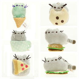 doll cats 2018 - Wholesale- 1pcs Kawaii Brinquedos Pusheen Cat Chain Toys 6 Styles Cartoon Soft Plush Mini Doll Super Cute Christmas Gift
