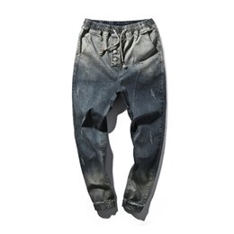 wholesale zippers yard NZ - Wholesale- Men's Clothing Casual Jeans 2017 Men Denim Hip-Hop Jeans Harem Pants Men's Pants Male Blue Trousers Size Big Yards 5XL