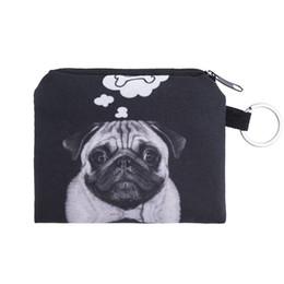 Dog Zipper NZ - Wholesale- dog bone Coin Purses Cute Girl Mini Bag Key Ring Case Zipper Wallet Lovely black dog 3d print Pouch Change Purse wholesaleCP4091