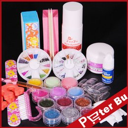 Colores Polvos Para Uñas De Acrílico Baratos-Venta al por mayor- 6 acrílicos de color en polvo 75ml acrílico Liquid Glitter cepillo de pegamento archivo KITS NAIL ART TIPS TOOLS KIT 107 set