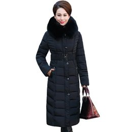 Discount thicker dress - new middle - aged elderly long down jacket warm winter coat thicker mother fitted women cotton dress
