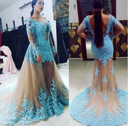 Robes De Femmes En Dentelle Pas Cher-2017 New Arrival Hot Fashion Long Sleeve Mermaid Robes de soirée style arabe Lace Sheer Women Backless Robes de soirée formelle