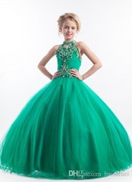 Wholesale Hot sale Gorgeous Ball Gown Crystal Beading Organza Girls Pageant Gown First Communion Dresses Custom Size