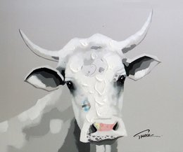 $enCountryForm.capitalKeyWord NZ - Framed Cow Portrait Pop Art,Genuine Hand Painted Cartoon Animal Art oil painting On Thick Canvas,Multi sizes Available Free Shipping J017