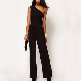 0a1e864f619 2018 Womens Off One Shoulder Jumpsuit Romper Black OL Workwear Sexy  Sleeveless Long Pant Playsuit Femme Casual Overall Trouser