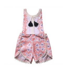 $enCountryForm.capitalKeyWord UK - INS pink rompers   baby girl jumpsuit  2017 tassel  bodysuit  jumpsuit summer style  geometry print ball fringe