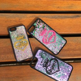 Chinese  for iphone 6 6s 7 8 plus X XS max XR Luxury Cute Exclusive Customize Name King Queen Heart Quicksand liquid moving glitter magic case manufacturers