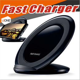 SamSung galaxy logo online shopping - Fast Qi Wireless Charger charging Pad Stand Dock for Samsung Galaxy Note S8 S7 iphone X Plus with Retail Package without Logo