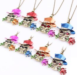 Artist Pendants NZ - Good A++ Warrior Halloween Skull Necklace Female Magic Artist Rose Pendant N600 (with chain) mix order 20 pieces a lot